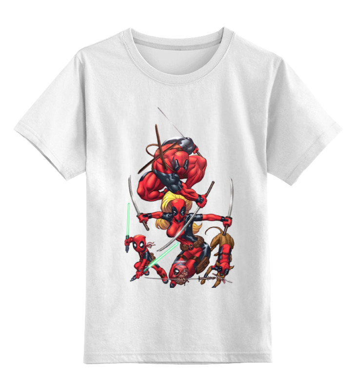 Детская футболка классическая унисекс Printio Deadpool family чехол для iphone 6 глянцевый printio deadpool family