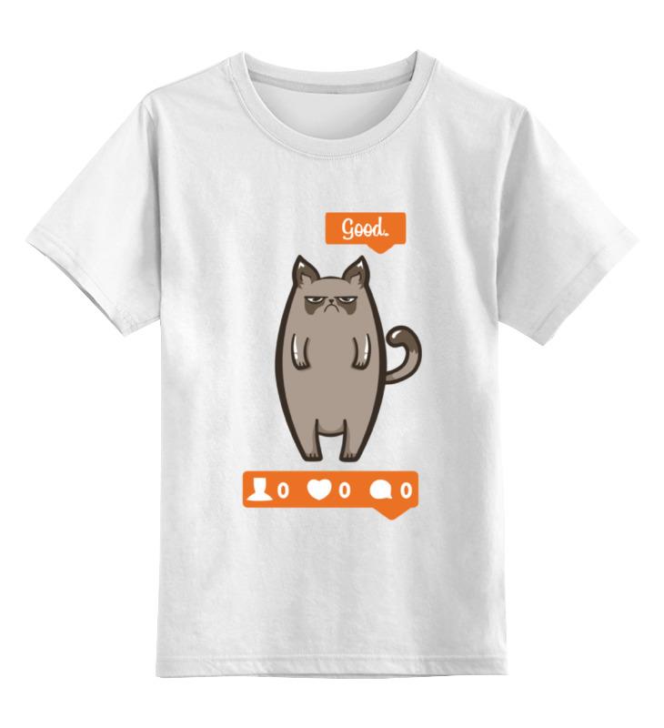 Детская футболка классическая унисекс Printio Угрюмый котик