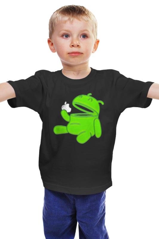 Детская футболка классическая унисекс Printio Android eats apple 101 cheap eats