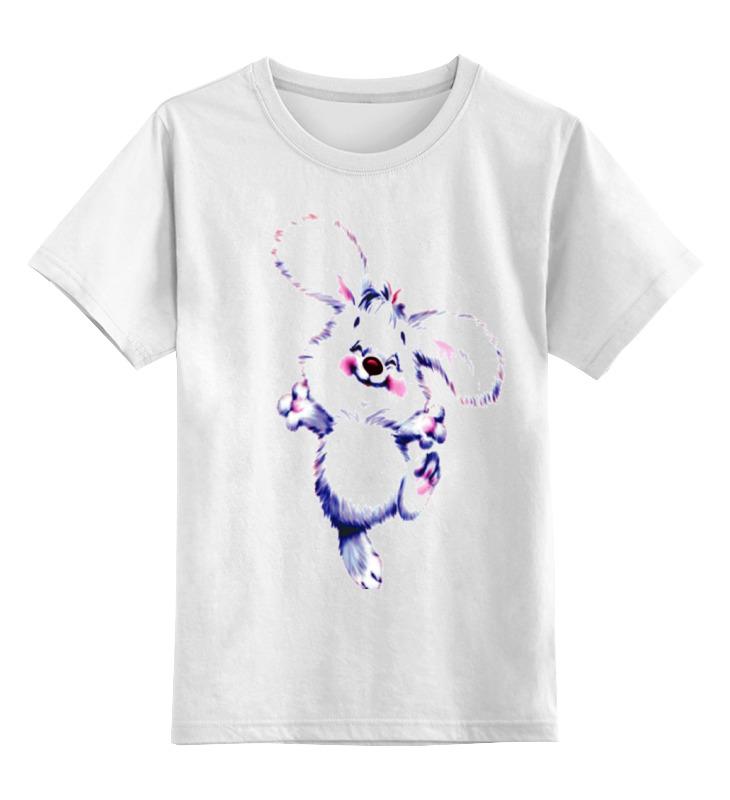 Детская футболка классическая унисекс Printio Зайка веселый пушистый .улыбка.