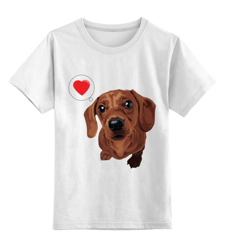 Детская футболка классическая унисекс Printio Такса -любовь