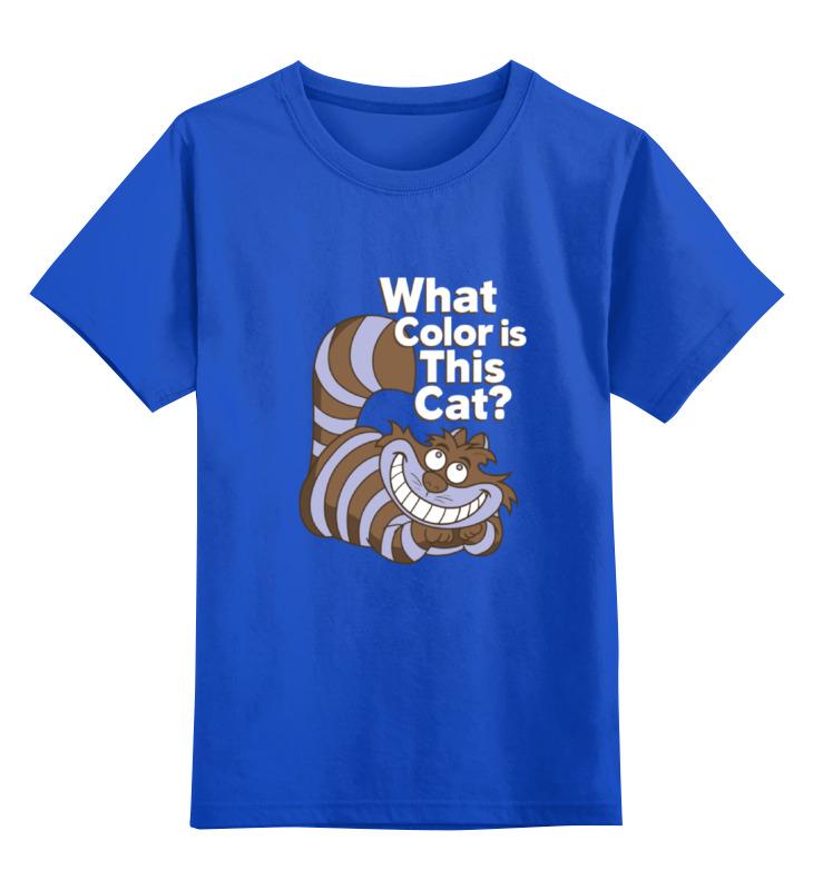 Детская футболка классическая унисекс Printio Какого цвета кот? (чеширский кот) цена