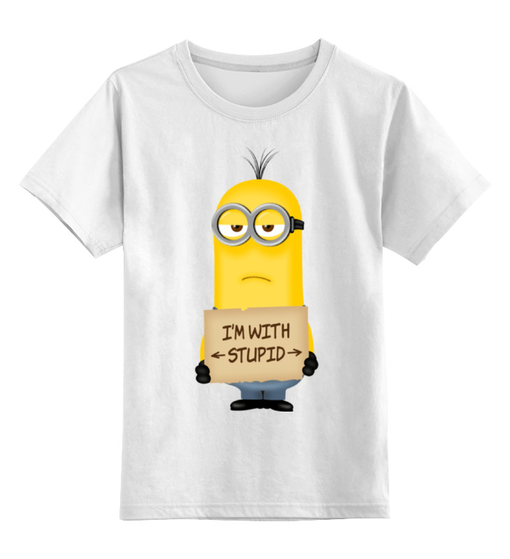 Детская футболка классическая унисекс Printio I'm with stupid. миньоны moose minions 58201 миньоны фигурка гадкий я 3 в пластиковом шаре