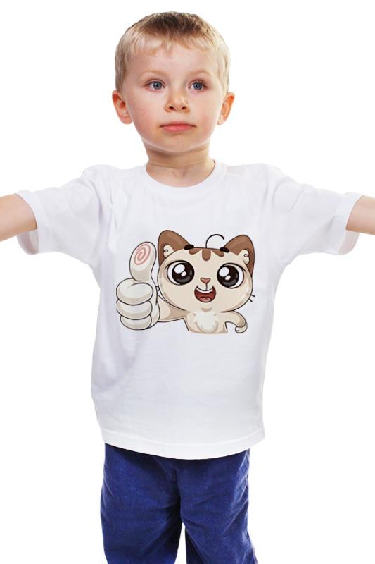 Детская футболка классическая унисекс Printio Вк стикер котик