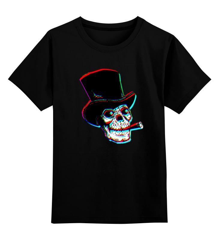 Детская футболка классическая унисекс Printio Череп в шляпе с сигарой