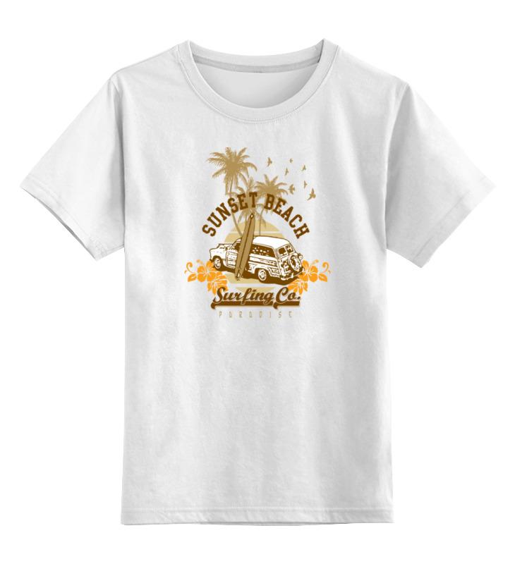 Детская футболка классическая унисекс Printio Sunset beach цветения сливы дизайн кожа pu откидная крышка бумажника карты держатель чехол для samsung galaxy core prime g360