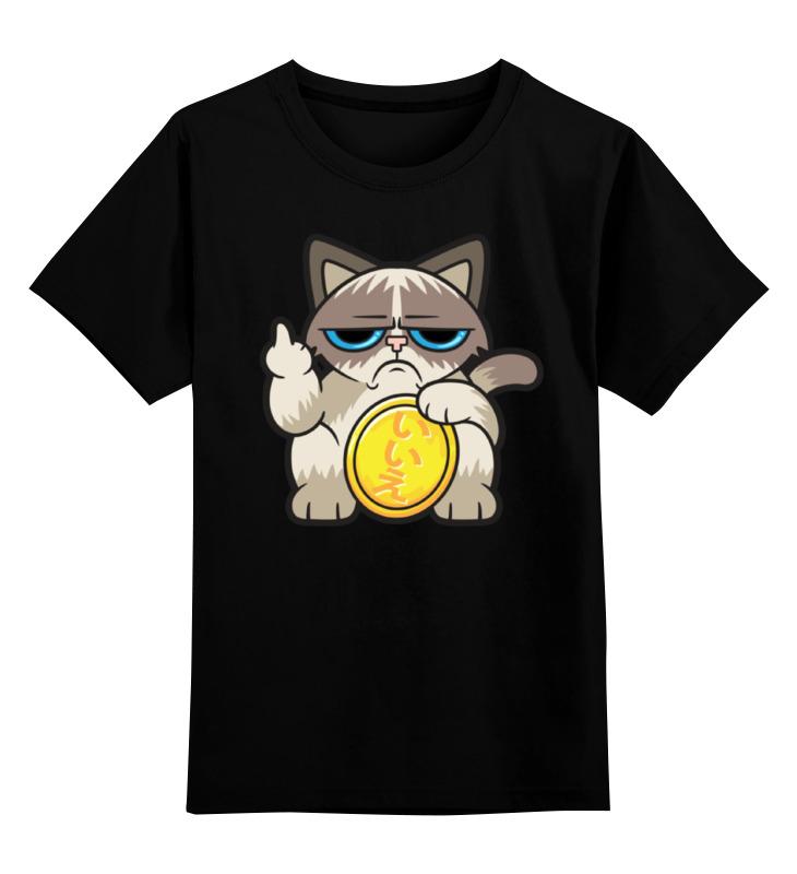 цена Детская футболка классическая унисекс Printio Угрюмый кот