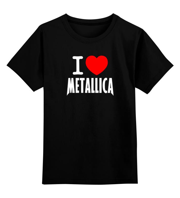 лучшая цена Детская футболка классическая унисекс Printio «i love metallica»
