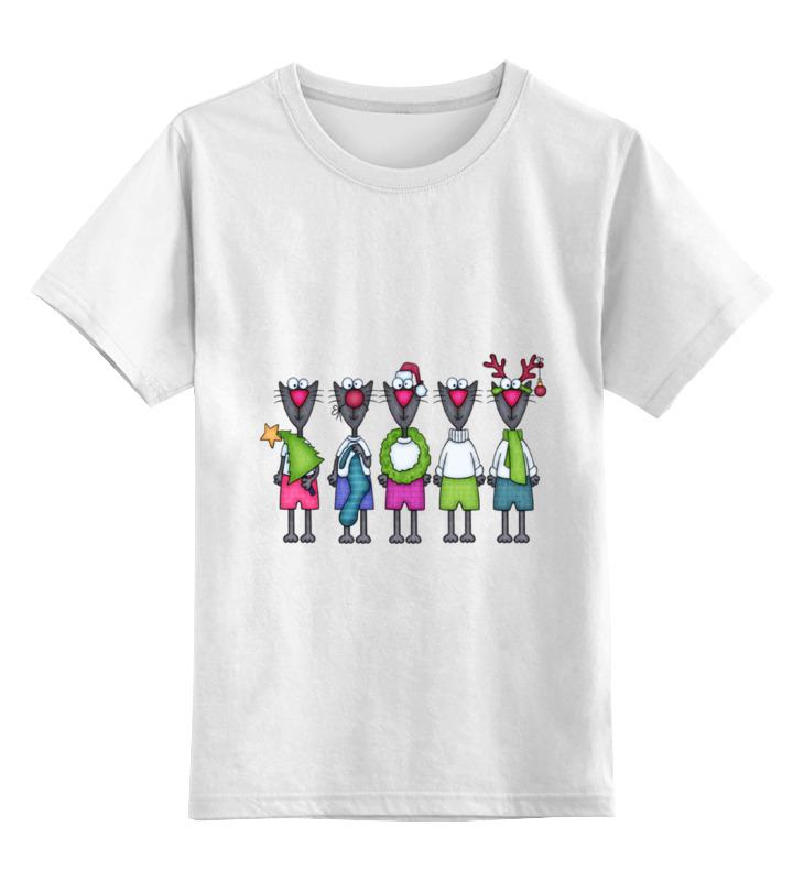 Детская футболка классическая унисекс Printio Новогодние коты