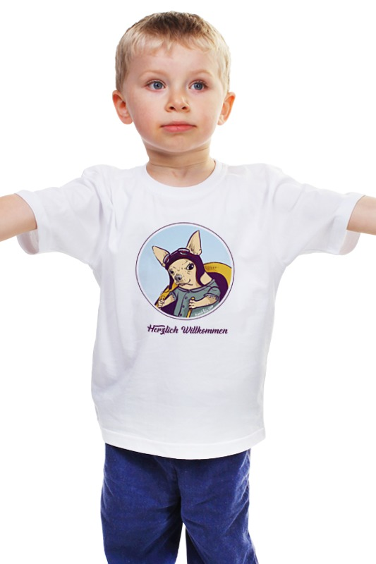 Детская футболка классическая унисекс Printio Herzlich willkommen в каких зоомагазинах можно в луховицах собаку породы чихуахуа