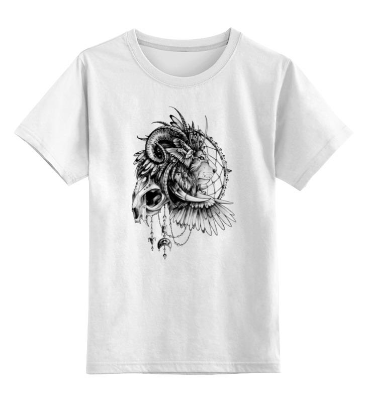 Детская футболка классическая унисекс Printio Лев-шаман-чб купить чб беспроводную камеру видеонаблюдения