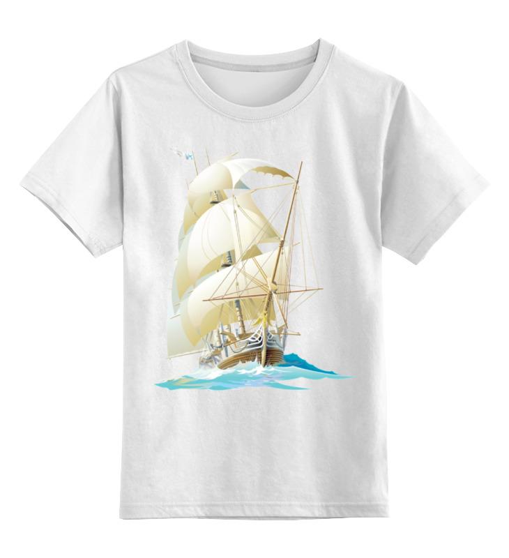 Детская футболка классическая унисекс Printio Парусник цена