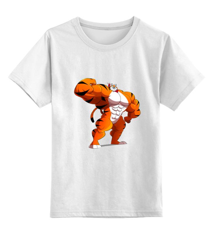 Детская футболка классическая унисекс Printio Фитнес тигр цена