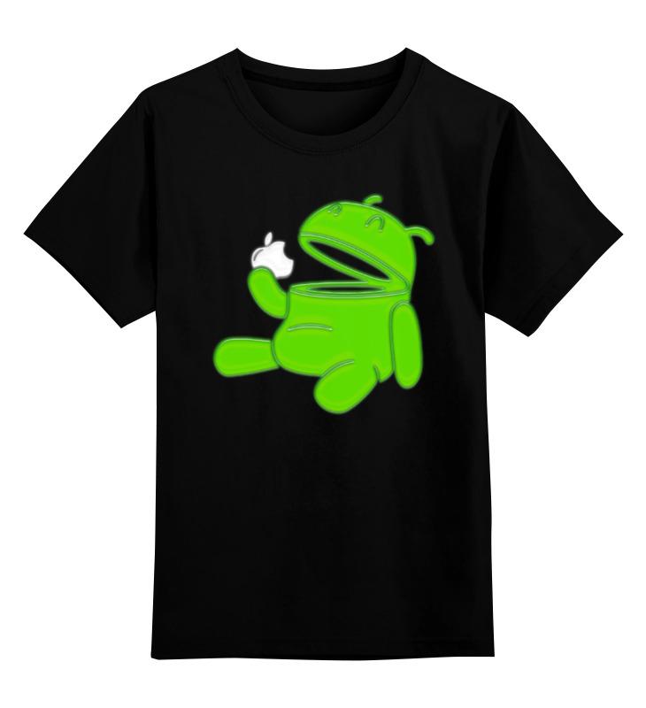 Детская футболка классическая унисекс Printio Android eats apple eats shoots