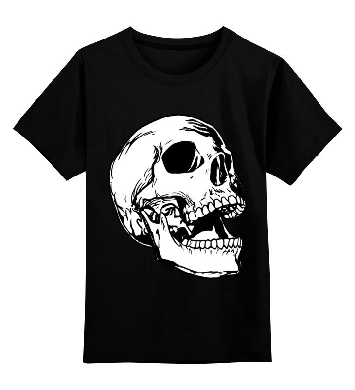 Детская футболка классическая унисекс Printio череп белый