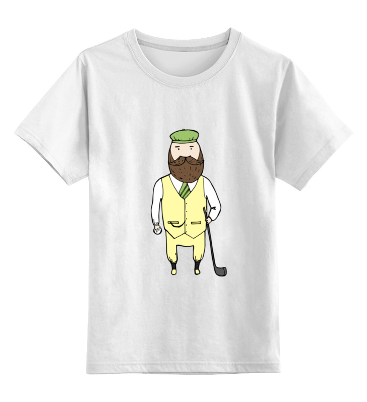 Детская футболка классическая унисекс Printio Джентльмен с клюшкой для гольфа одежда для гольфа nikegolf 544355 nike golf
