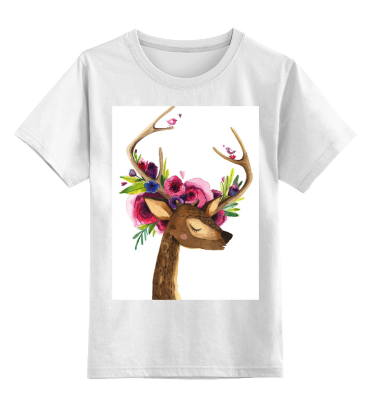 Детская футболка классическая унисекс Printio Олень с цветами в рогах детская футболка классическая унисекс printio муравьед с цветами
