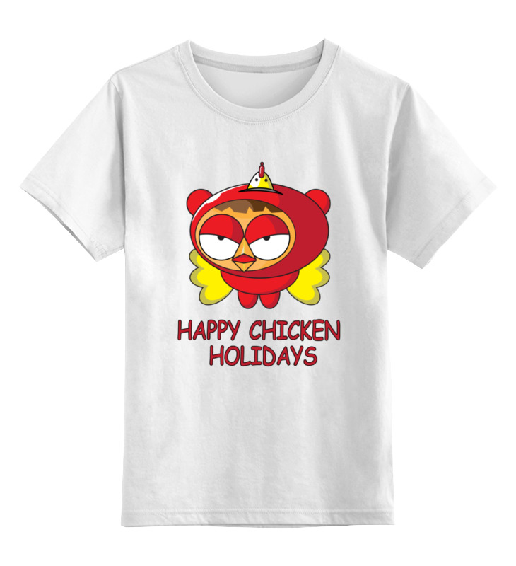 Детская футболка классическая унисекс Printio Happy chicken holidays