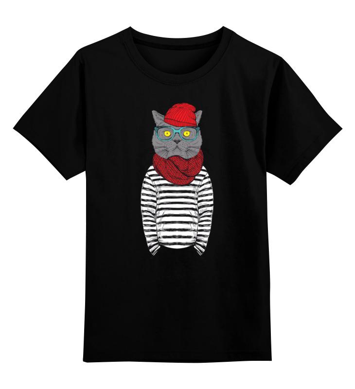 Детская футболка классическая унисекс Printio Кот хипстер футболка классическая printio новый год кот в шапке