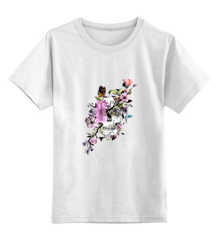 Детская футболка классическая унисекс Printio Череп с цветами dum spiro sper детская футболка классическая унисекс printio муравьед с цветами