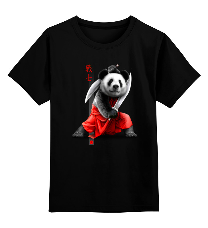 Детская футболка классическая унисекс Printio Панда с мечами позиционеры для сна candide позиционер с подголовником воздухопроницаемая панда air