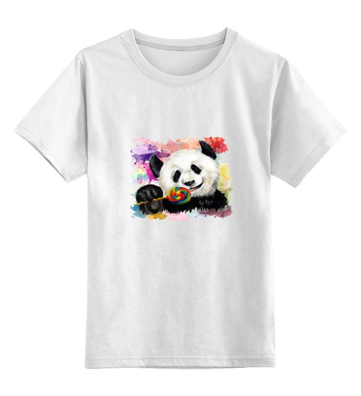Детская футболка классическая унисекс Printio Панда с леденцом позиционеры для сна candide позиционер с подголовником воздухопроницаемая панда air