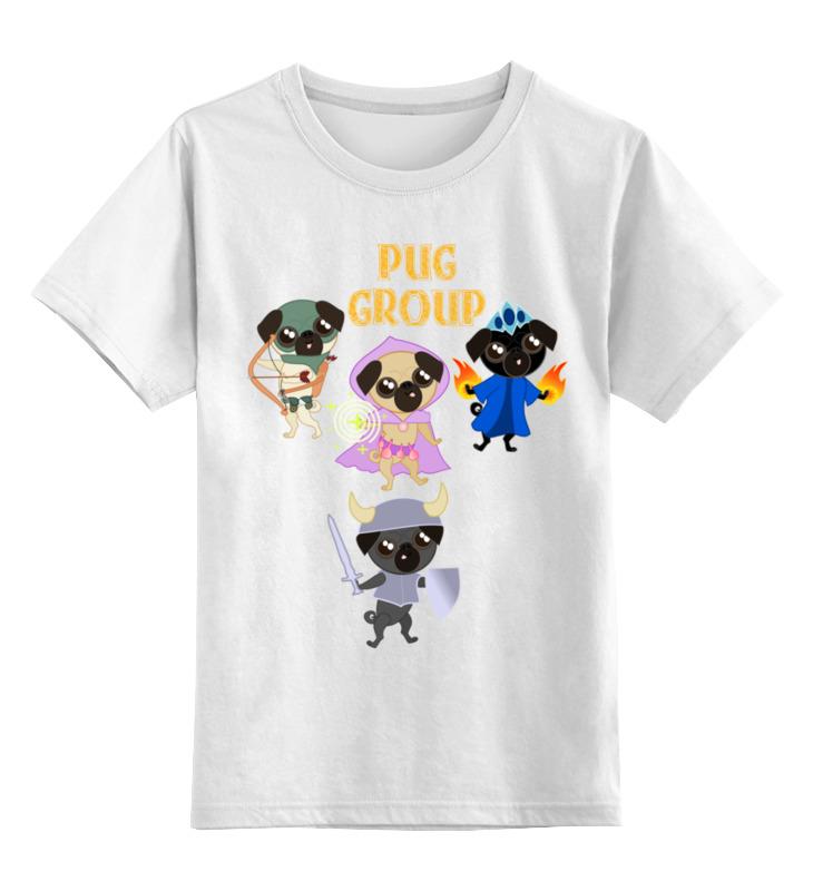 Детская футболка классическая унисекс Printio Мопсы — герои. pug group. цена и фото