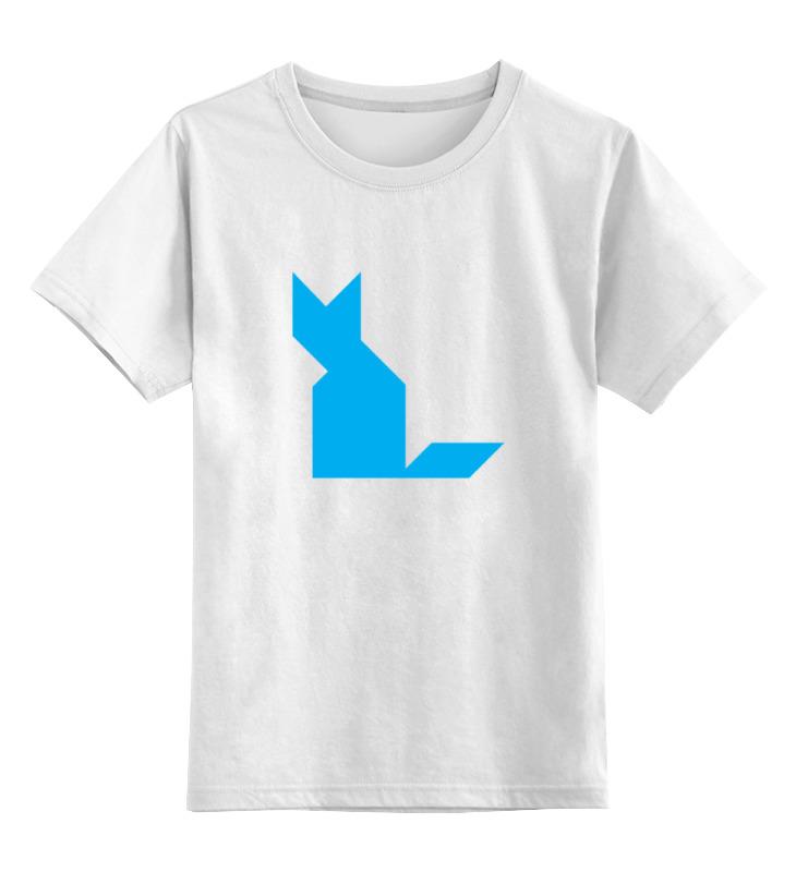 Детская футболка классическая унисекс Printio Голубая кошка танграм
