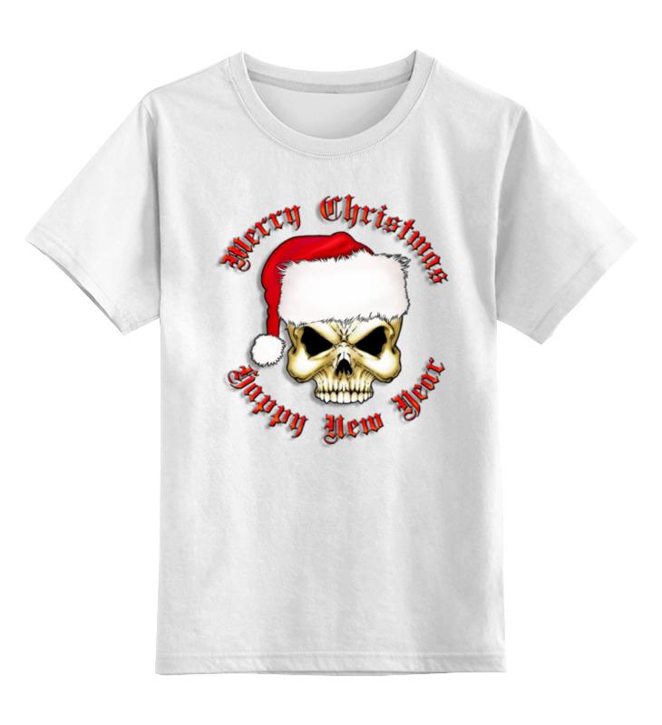 Детская футболка классическая унисекс Printio Santa skull santa claus