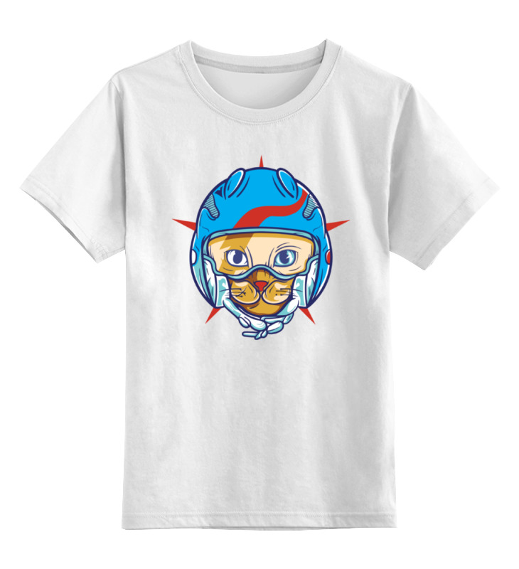 Детская футболка классическая унисекс Printio Кот пилот амортизатор зид пилот передний