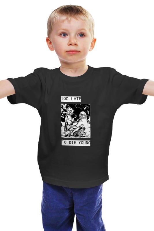 Детская футболка классическая унисекс Printio Too late to die young  цена и фото