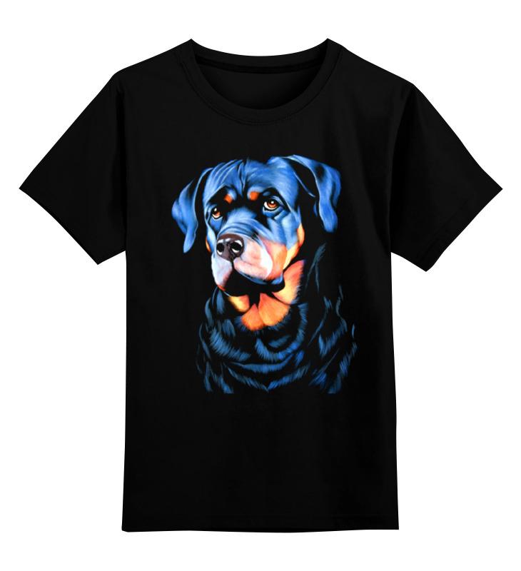Детская футболка классическая унисекс Printio Собака на черном бархате