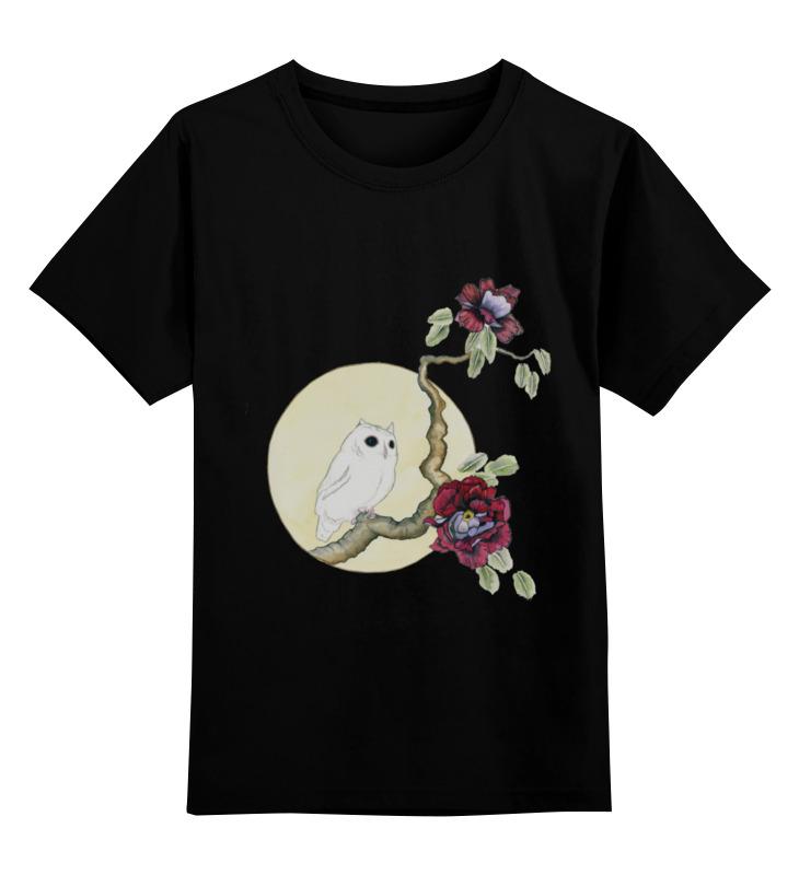 Детская футболка классическая унисекс Printio Сова на черном цена и фото