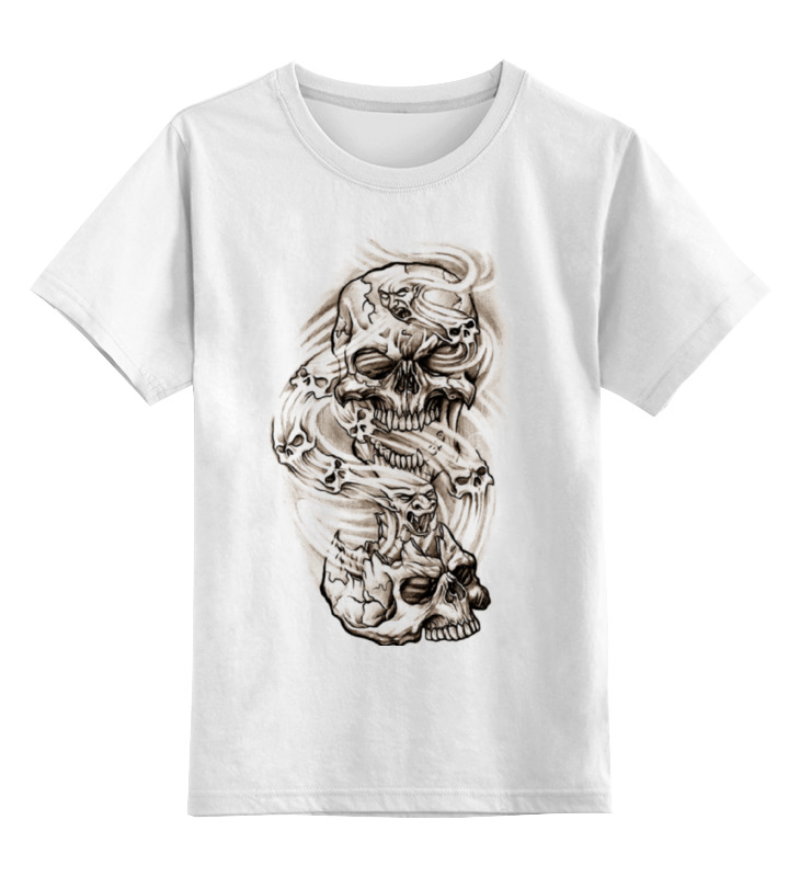Детская футболка классическая унисекс Printio Smoke skulls