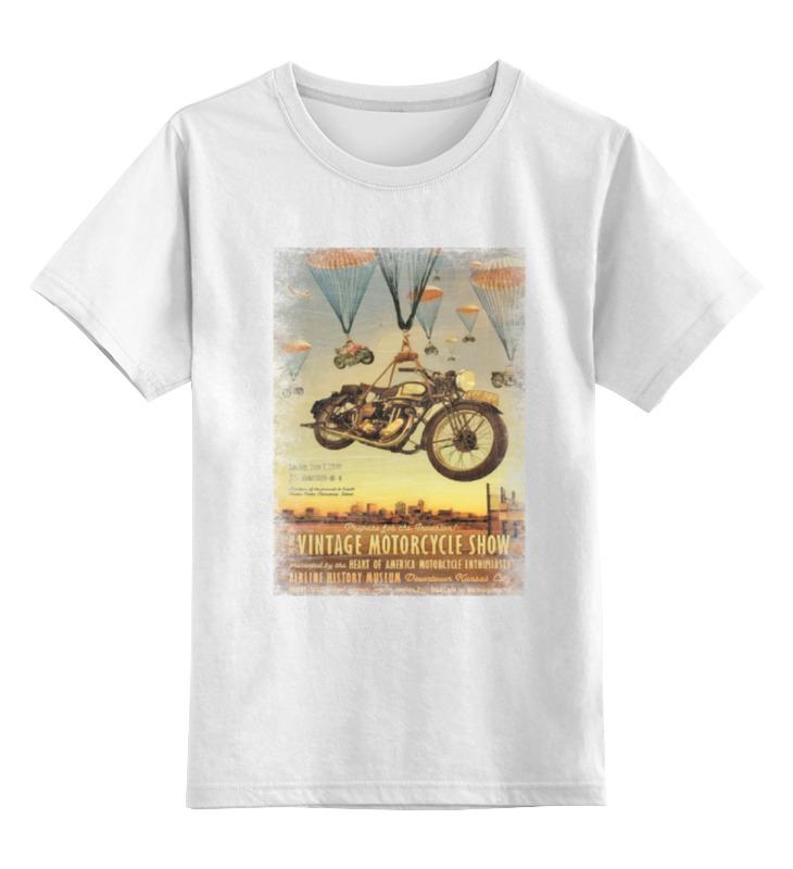 где купить Детская футболка классическая унисекс Printio Vintage motorcycle show дешево