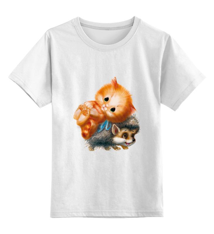 Детская футболка классическая унисекс Printio Ёжик и киска цена и фото