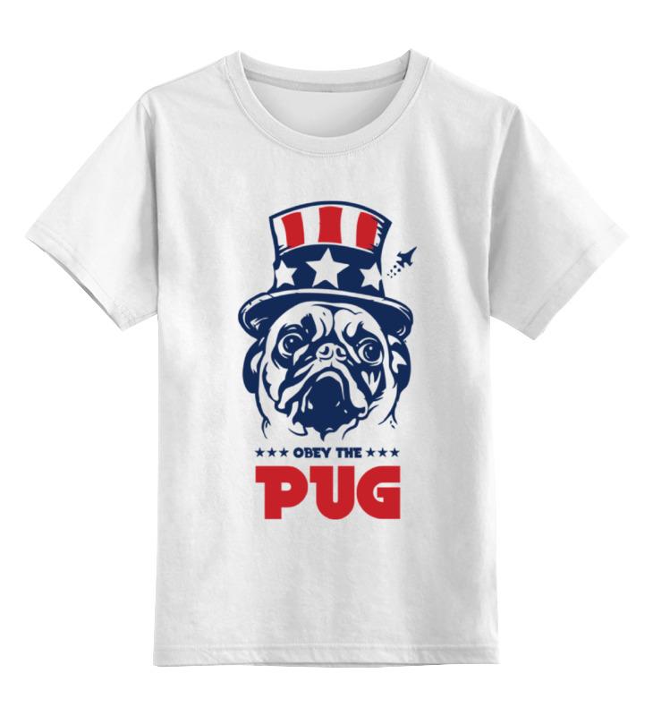 все цены на Детская футболка классическая унисекс Printio Мопс президент (obey pug)