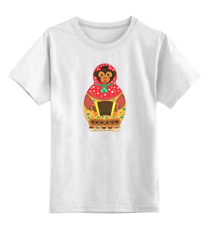 Детская футболка классическая унисекс Printio Обезьянка матрешка гармонь