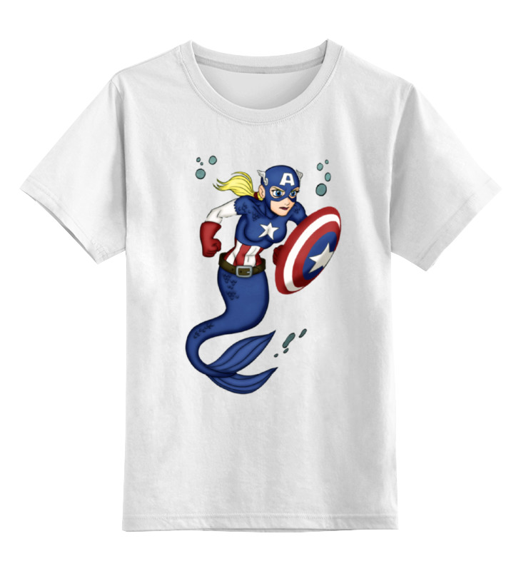 Детская футболка классическая унисекс Printio Капитан америка / русалочка цена
