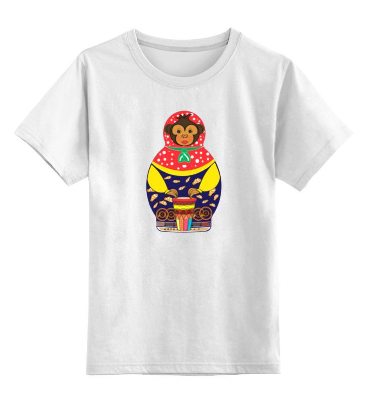 Детская футболка классическая унисекс Printio Обезьянка матрешка барабан