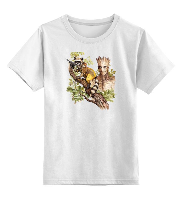 Детская футболка классическая унисекс Printio Rocket raccoon and groot