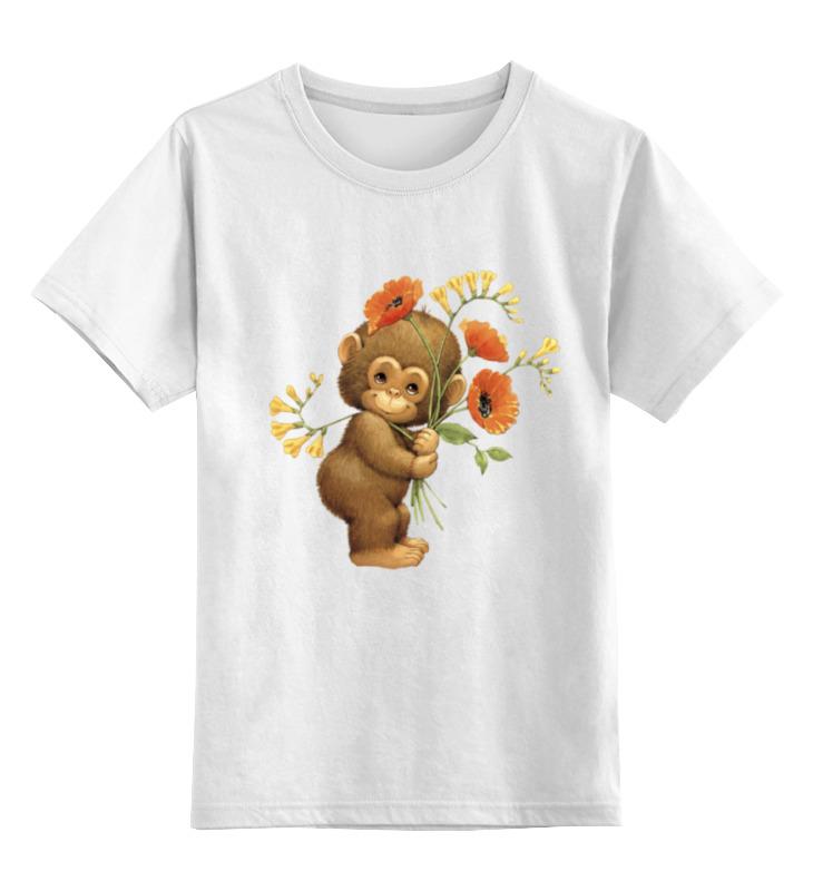 Детская футболка классическая унисекс Printio Обезьянка с маком fancy сумка рюкзак детская обезьянка