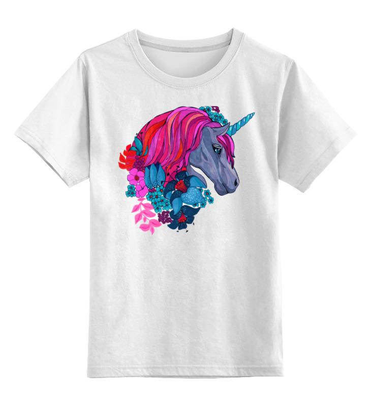 Детская футболка классическая унисекс Printio Единорог с розовыми волосами в цветах детская футболка классическая унисекс printio единорог с розовыми волосами в цветах