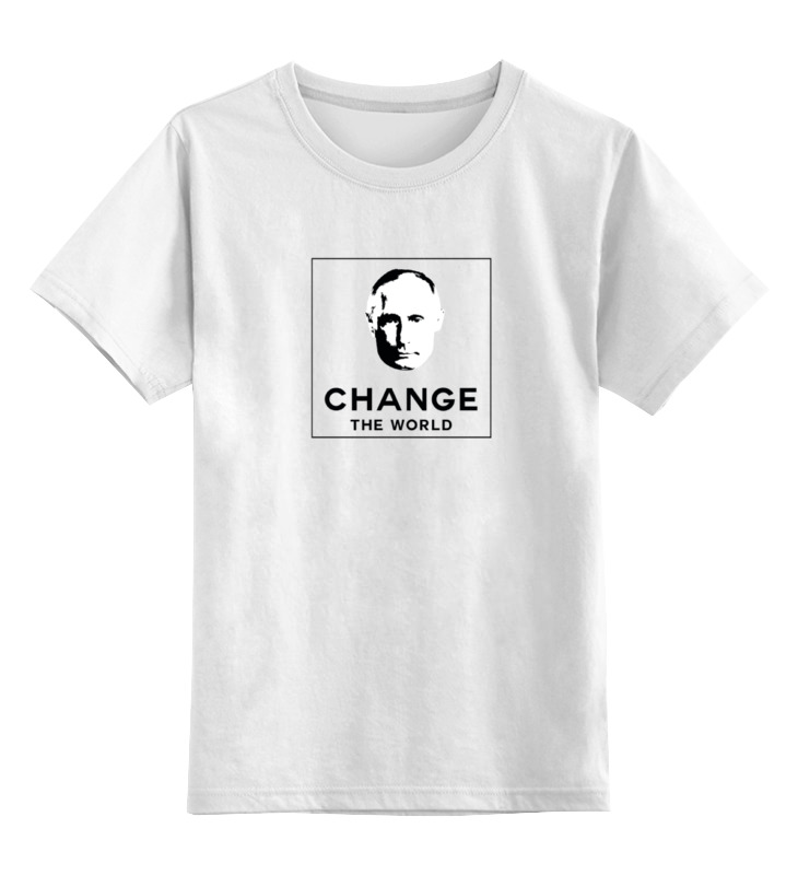 Детская футболка классическая унисекс Printio Putin change the world - путин изменит мир футболка классическая printio puttin on the putin