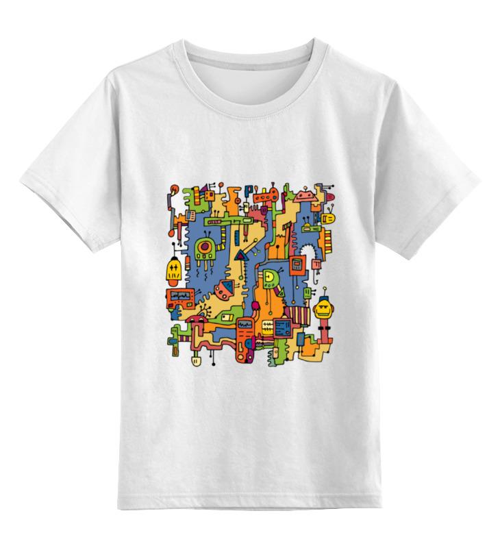 Детская футболка классическая унисекс Printio Роботы в стиле дудл