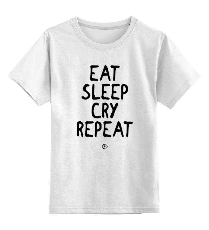 Детская футболка классическая унисекс Printio Eat cry repeat by brainy футболка repeat футболка