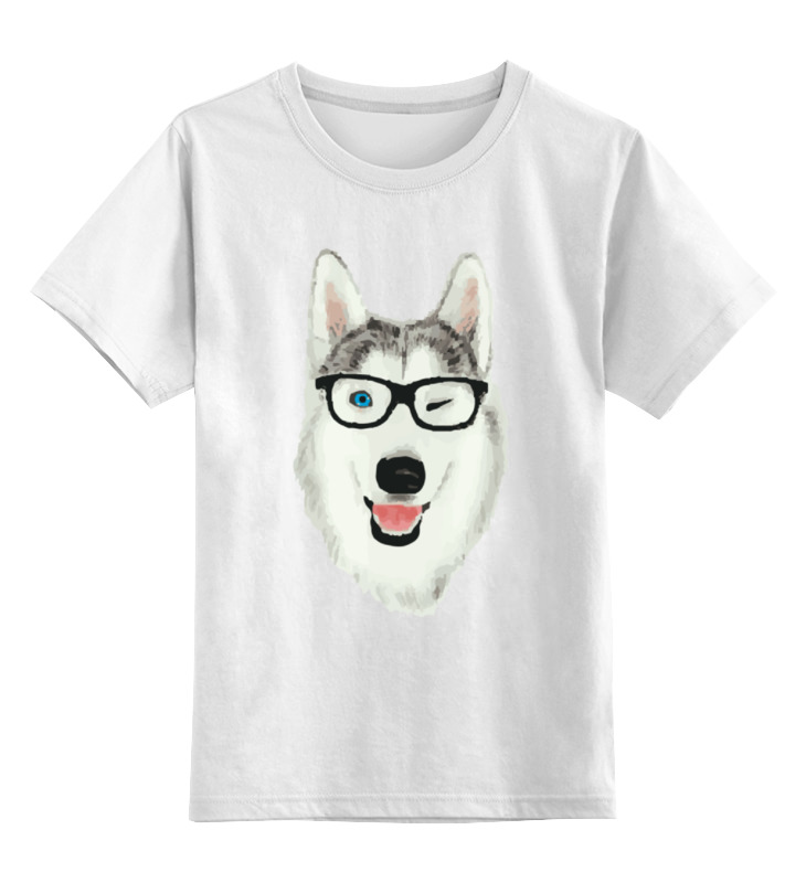 Детская футболка классическая унисекс Printio Хаски в очках щенков хаски в балашихе