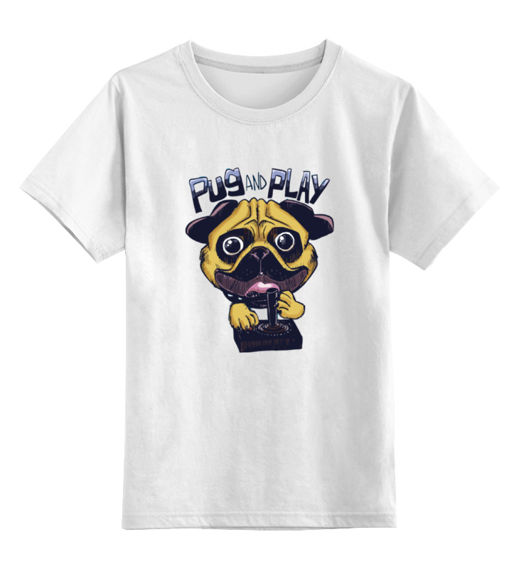 Детская футболка классическая унисекс Printio Мопс и джойстик цена 2017