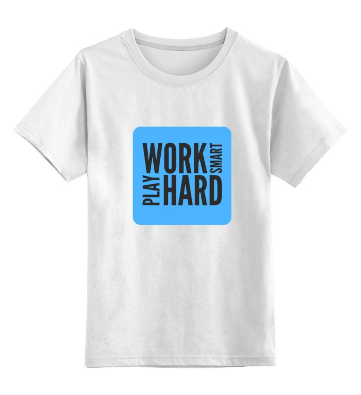 Детская футболка классическая унисекс Printio Work smart автомат play smart снайпер р41399