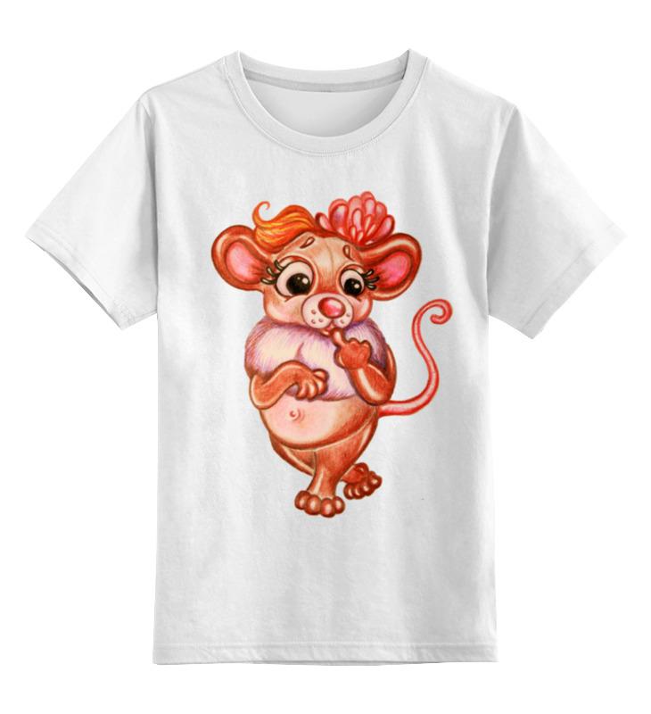 Детская футболка классическая унисекс Printio Задумчивая мышка майка классическая printio задумчивая мышка